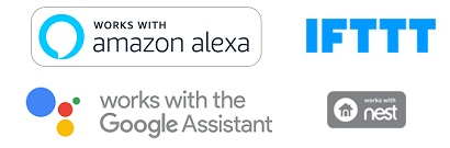 Kompatibel med Amazon Alexa, Works with Nest och IFTTT